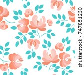 floral seamless pattern.... | Shutterstock .eps vector #747851230