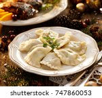 christmas dumplings stuffed... | Shutterstock . vector #747860053
