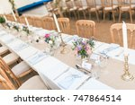 wedding reception table  | Shutterstock . vector #747864514