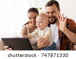 family  parenthood and people... | Shutterstock . vector #747871330