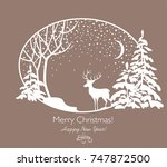 greeting christmas retro card... | Shutterstock .eps vector #747872500