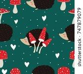 hedgehog pattern | Shutterstock .eps vector #747879079