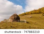 a haystack and grazing sheep on ... | Shutterstock . vector #747883210