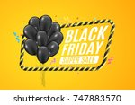 black balloons in a yellow... | Shutterstock .eps vector #747883570