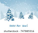 christmas and new year greeting ... | Shutterstock .eps vector #747885316