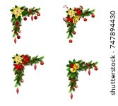 set of cristmas corner... | Shutterstock .eps vector #747894430