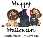 a cartoon drawing of three cute ... | Shutterstock .eps vector #747896536