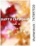 decorative christmas text on... | Shutterstock .eps vector #747897520