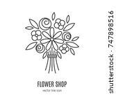 vector flower  bouquet  icon in ...   Shutterstock .eps vector #747898516