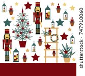 christmas background with... | Shutterstock .eps vector #747910060