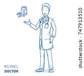modern smiling doctor in white... | Shutterstock .eps vector #747913510