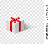 white box with a bow tied with... | Shutterstock .eps vector #747915676