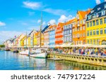 view of old nyhavn port  in the ... | Shutterstock . vector #747917224