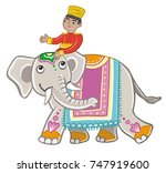 painted indian elephant and the ... | Shutterstock .eps vector #747919600