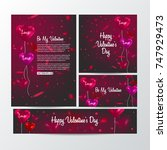 set of business card templates  ... | Shutterstock .eps vector #747929473