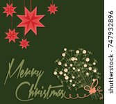 merry christmas card with and... | Shutterstock .eps vector #747932896