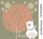 merry christmas card with bear... | Shutterstock .eps vector #747932899