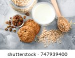 delicious oatmeal cookies with... | Shutterstock . vector #747939400