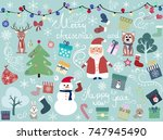 christmas background  on a blue ... | Shutterstock .eps vector #747945490