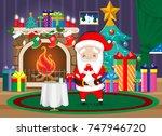 santa claus eats cookies ... | Shutterstock .eps vector #747946720