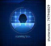 isolated abstract face scanning ... | Shutterstock .eps vector #747948829