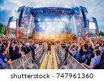 madrid   jun 24  the crowd in a ... | Shutterstock . vector #747961360