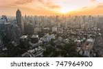 aerial drone panorama of sunset ... | Shutterstock . vector #747964900