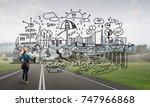 back view of engineer woman in... | Shutterstock . vector #747966868