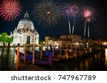 firework display near santa... | Shutterstock . vector #747967789