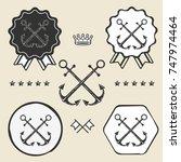 anchor crossed vintage symbol...   Shutterstock . vector #747974464