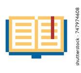pixel book pixel art cartoon...   Shutterstock . vector #747974608
