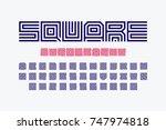 square shape letters linear... | Shutterstock .eps vector #747974818