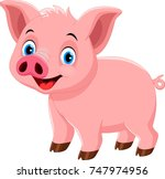 vector illustration of cute pig ... | Shutterstock .eps vector #747974956