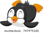cute baby penguin is sliding on ... | Shutterstock .eps vector #747975100