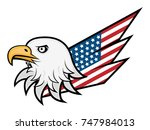 eagle head and america flag... | Shutterstock .eps vector #747984013