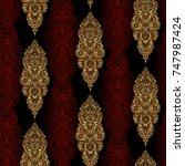 ornate tribal seamless golden... | Shutterstock .eps vector #747987424
