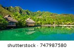 over water bungalows and an...   Shutterstock . vector #747987580