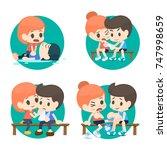 first aid cartoon set. | Shutterstock .eps vector #747998659