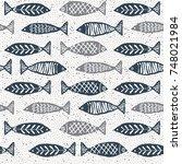 watercolor texture fish pattern  | Shutterstock . vector #748021984