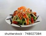 shirauo salada with white... | Shutterstock . vector #748027384