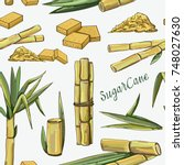 sugar cane icons pattern | Shutterstock .eps vector #748027630