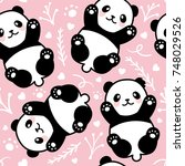cute cartoon panda seamless... | Shutterstock .eps vector #748029526