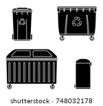 thrash and recycling can.... | Shutterstock .eps vector #748032178