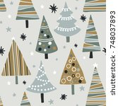 vector seamless pattern with... | Shutterstock .eps vector #748037893