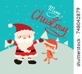 christmas greeting card with... | Shutterstock .eps vector #748042879