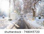 foodstalls at christmas market... | Shutterstock . vector #748045720