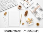 christmas home office desk with ... | Shutterstock . vector #748050334