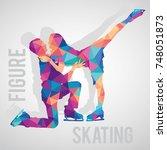 figure skaters couple polygonal ... | Shutterstock .eps vector #748051873