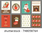 merry christmas typography and... | Shutterstock .eps vector #748058764