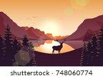 mountain landscape with deer in ... | Shutterstock . vector #748060774